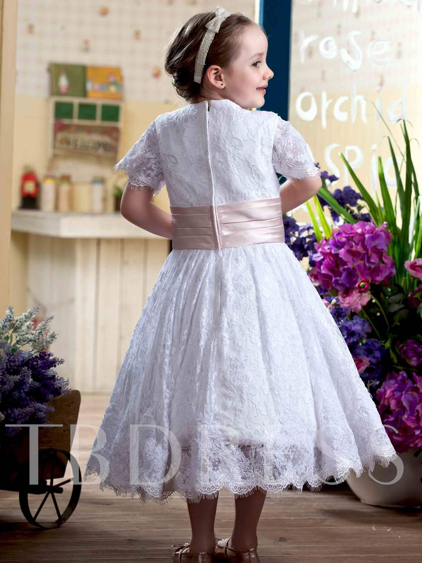 A-Line Short Sleeves Tea-Length Lace Flower Girl Dress
