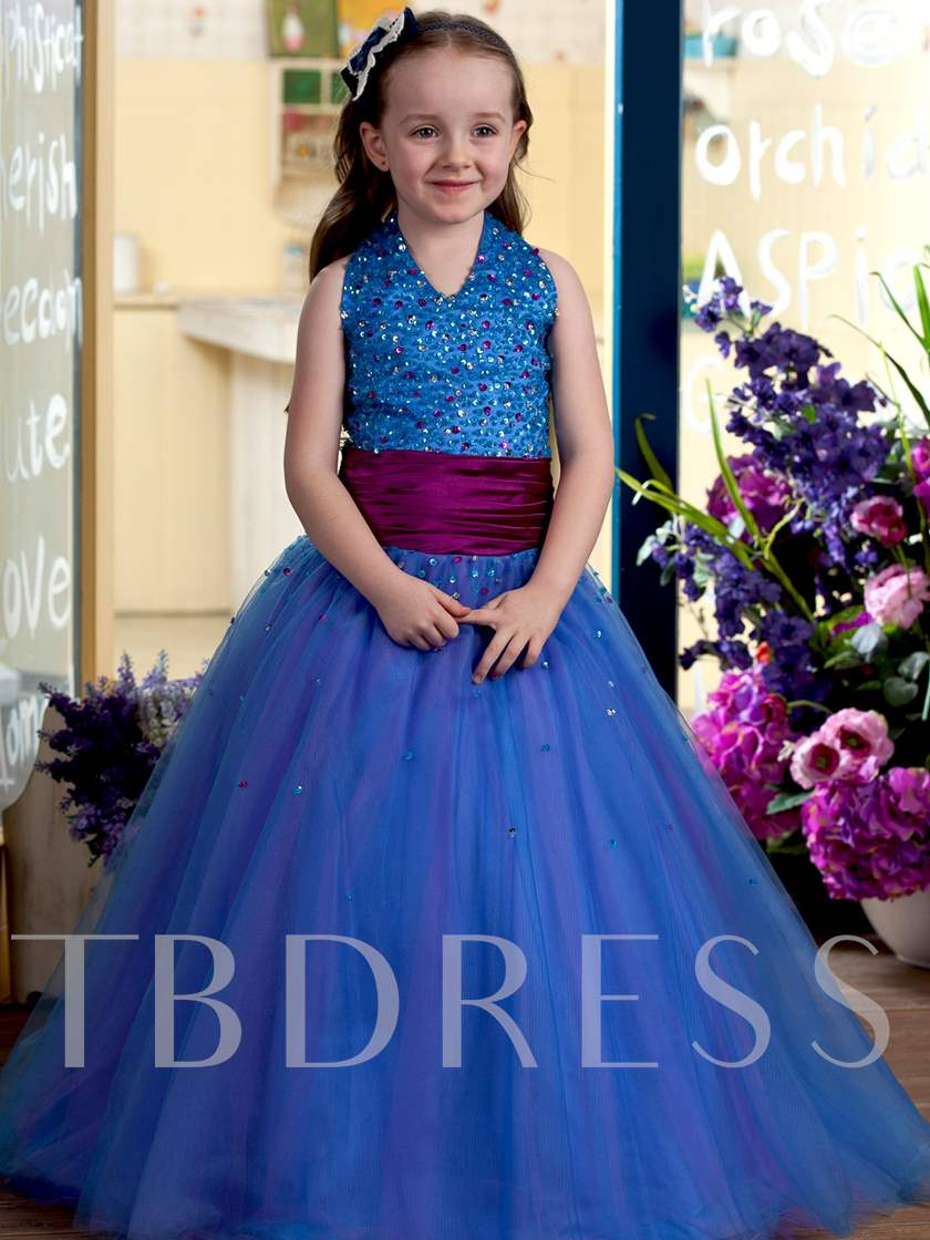Halter Floor-length Sequins Ball Gown Flower Girl Dress