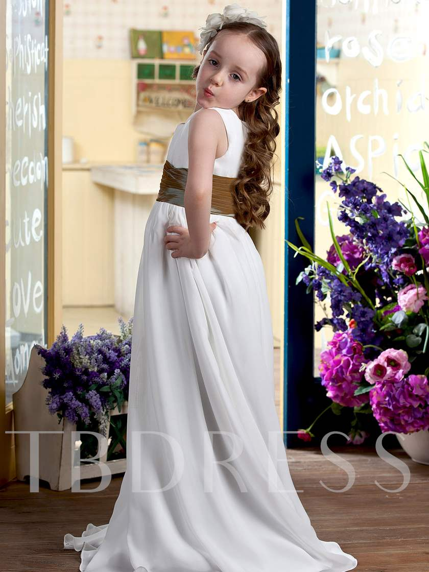 Empire Scoop Floor-length Sash Flower Girl Dress