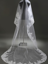 Royal Length White Lace Wedding Veil