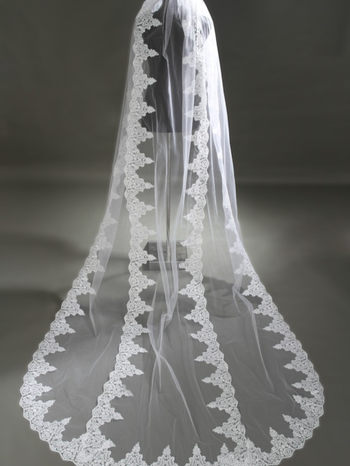 Wedding Veil One-tier Cathedral Veils Cut Edge/Lace Applique Edge