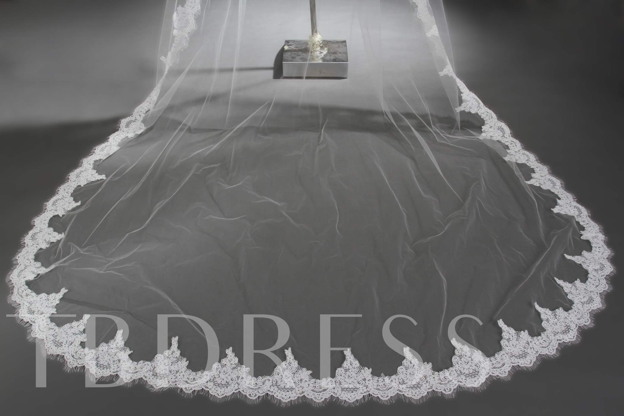 2 Layer Cathedral Length Ivory Lace Wedding Veil