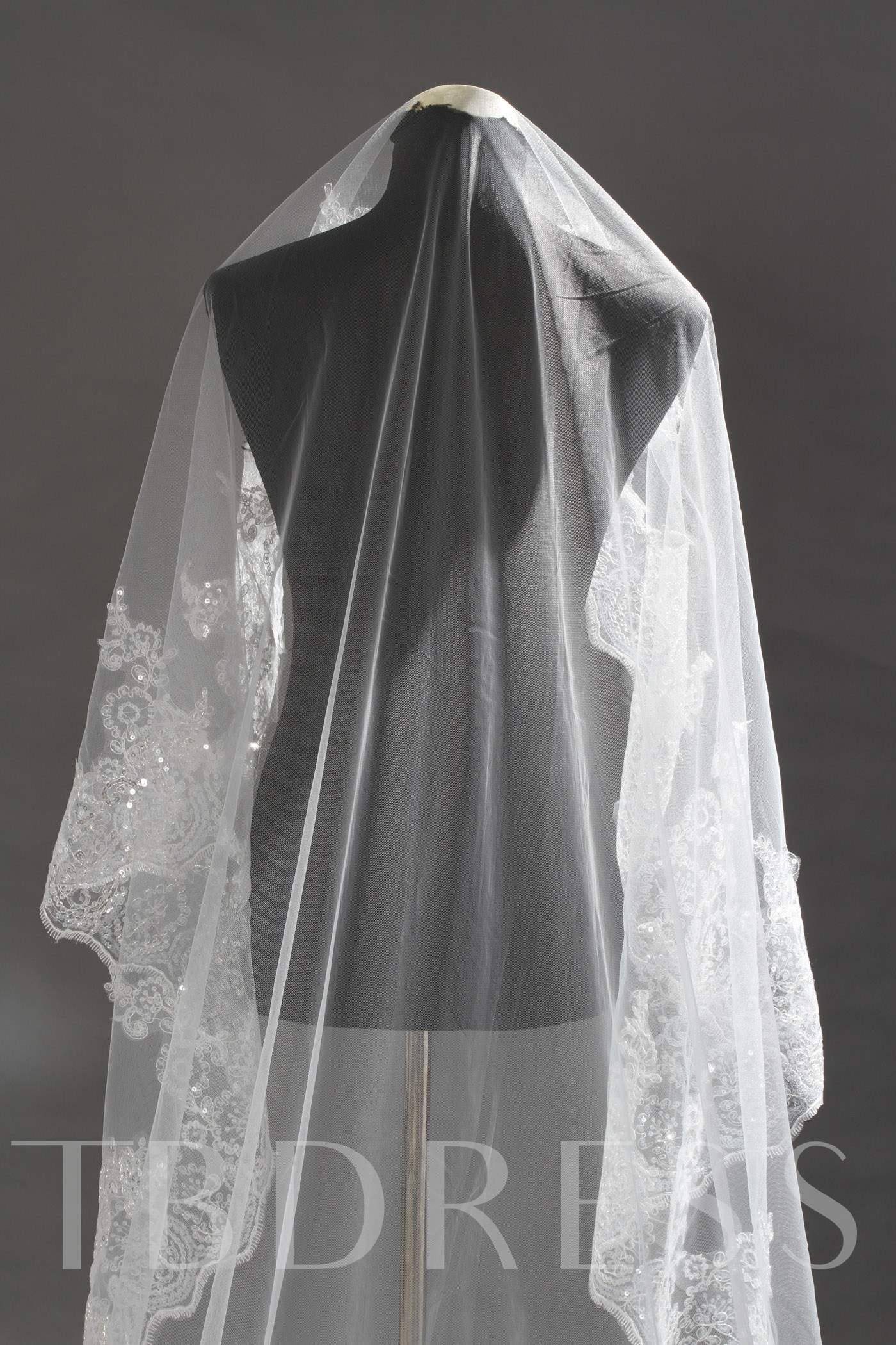 Cathedral Length Lace Wedding Veil with Sequin