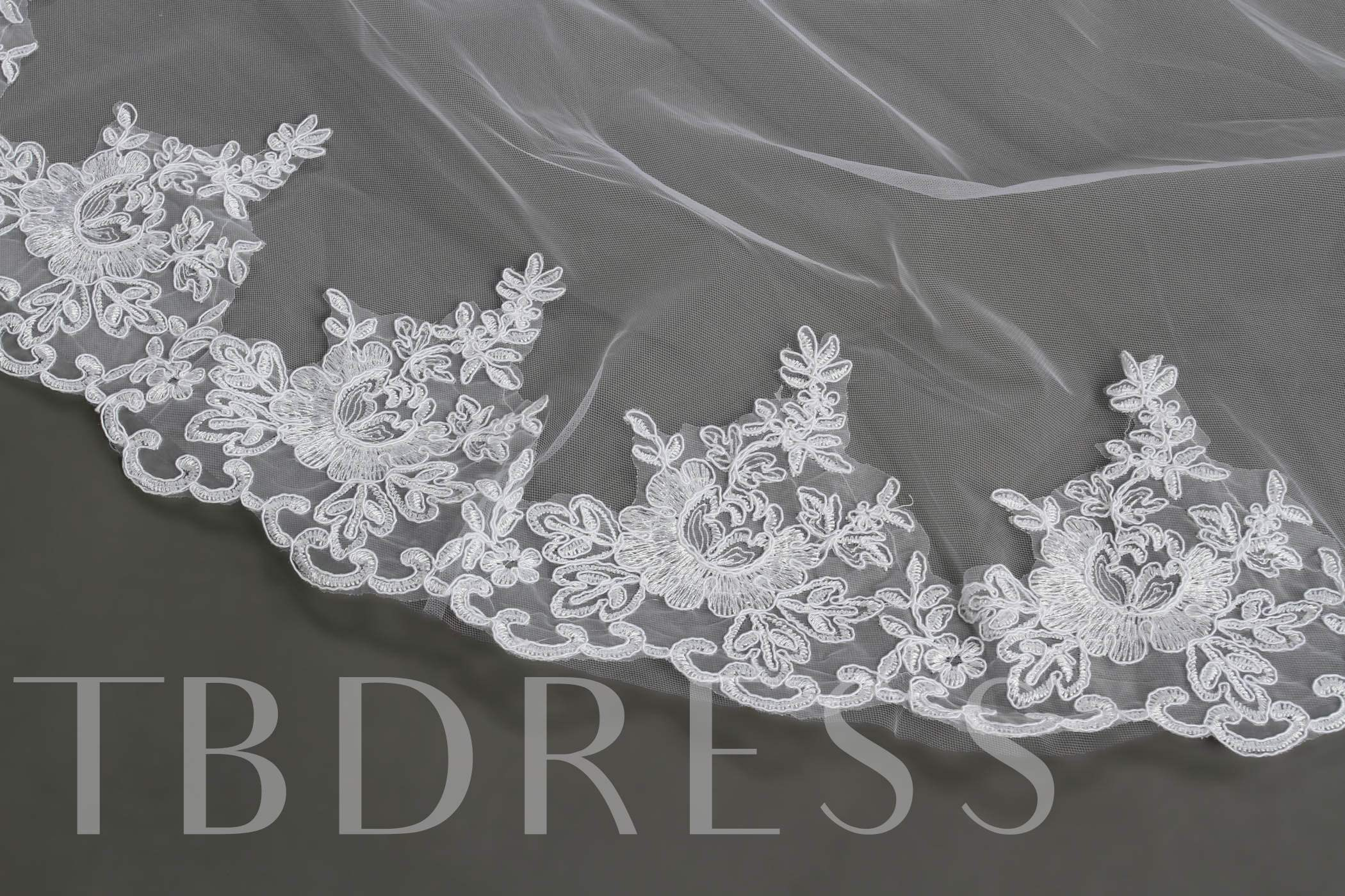 Cathedral Length White Lace Wedding Veil