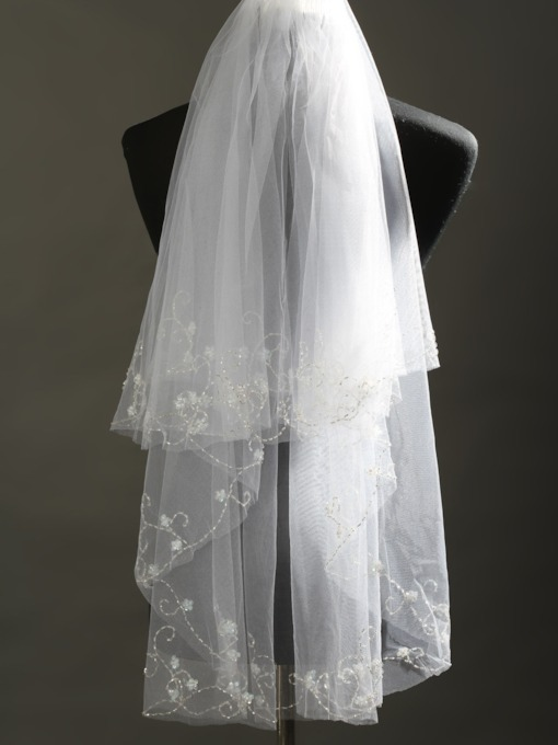 Beads Elbow Tull Wedding Veil