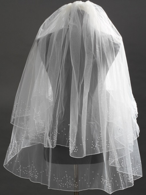 Elbow Tulle Wedding Bridal Veil with Rhinestone