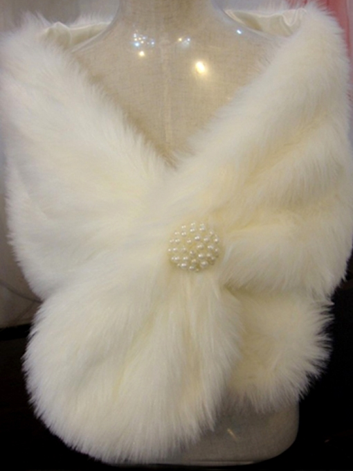 Plush Pearls Ball Ear Style Lady's Faux Fur Wedding Shawl