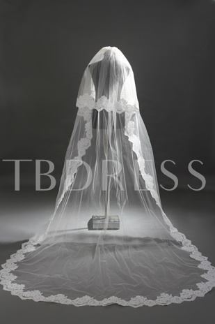 2 LayerCathedral Style Lace Wedding Veil with Sequin