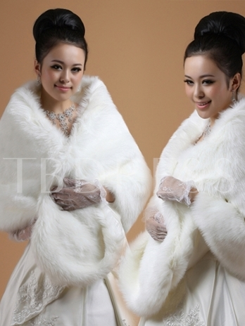 Lady's Lengthen and widen Faux Fur Wedding/Evening Shawl