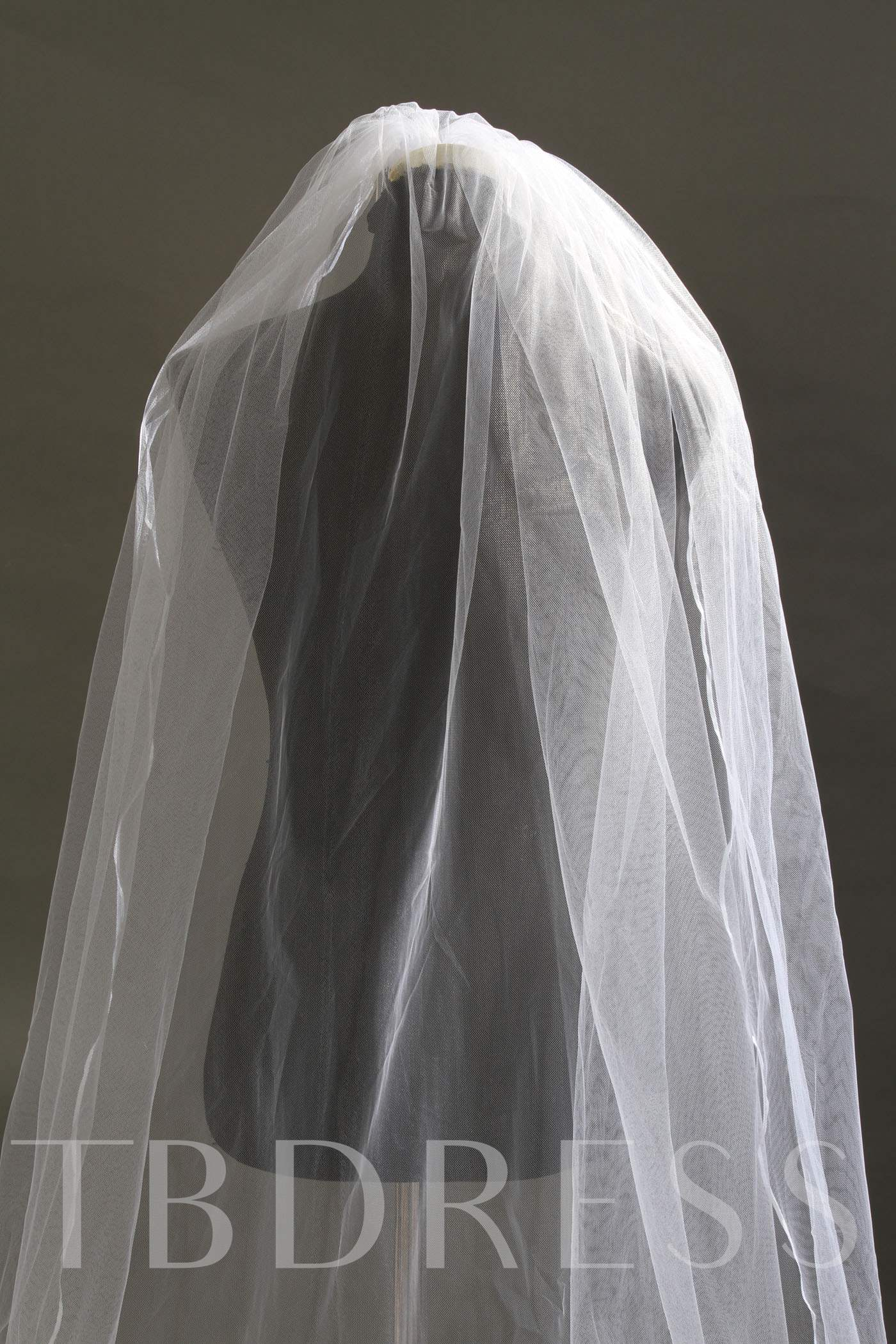 Chapel Wedding Bridal Veil with Floral Edge
