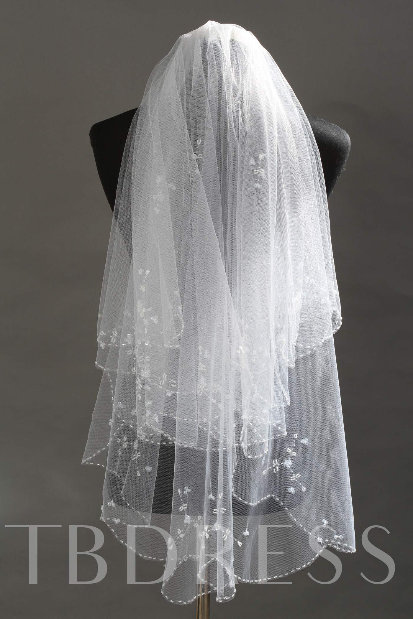 Elbow Tull Wedding Bridal Veil with Beads