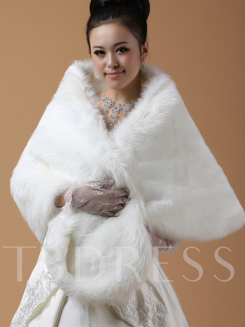 Lady's Lengthen and widen Faux Fur Wedding Shawl