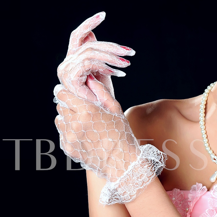 Transparent Wedding Bridal Floral Lace Gloves