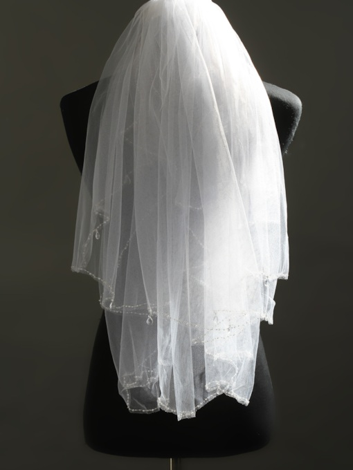Elbow Tull Beads Wedding Veil