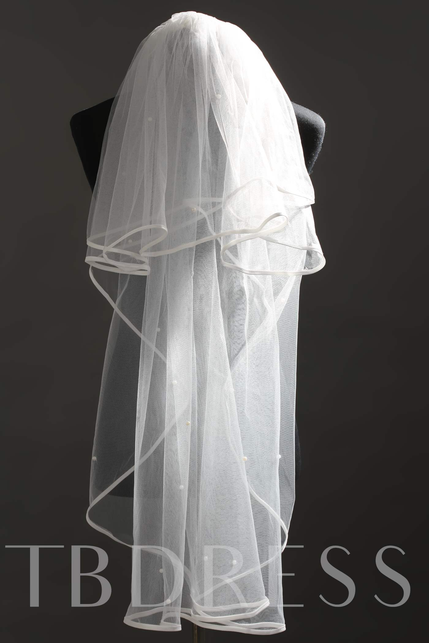 2 Layer Fingertip Pearl Wedding Veil