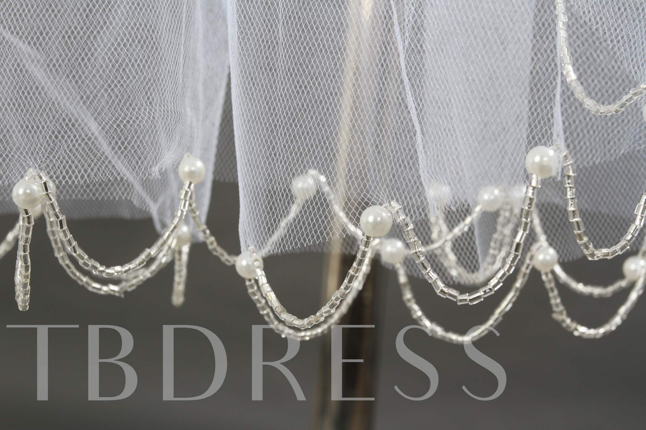 3 Layer Fingertip Wedding Veils with Beads
