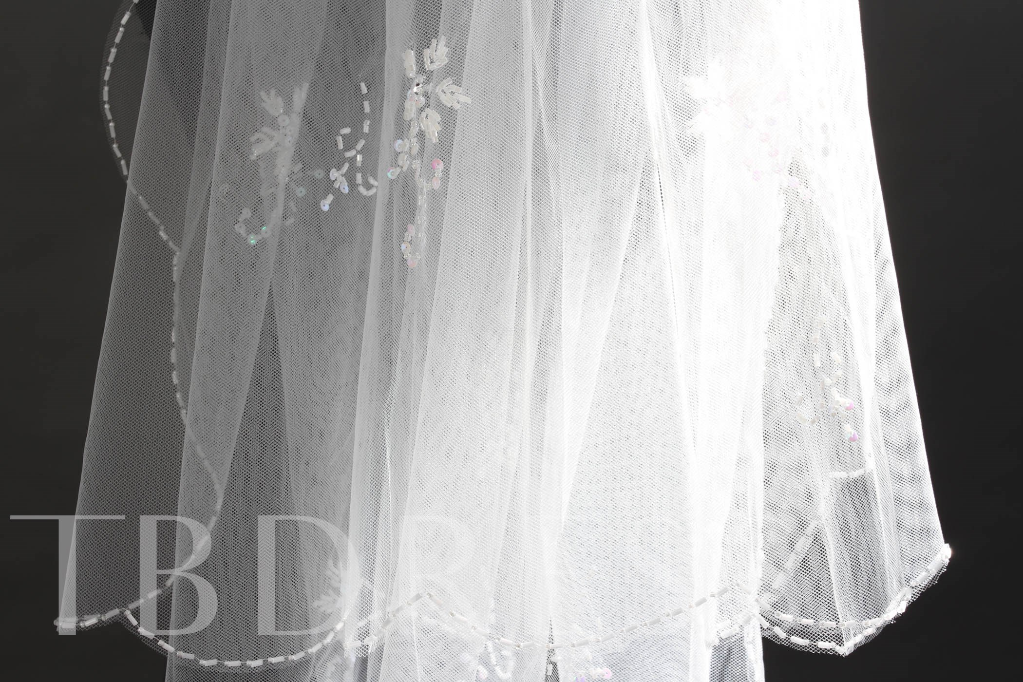 Elbow Tull Beading Wedding Veil