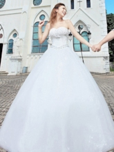 Ball Gown Sweetheart Appliques Beading Wedding Dress