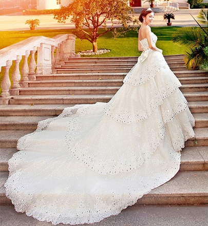 A-Line Floor-Length Sweetheart Cathedral Train Wedding Dress ...