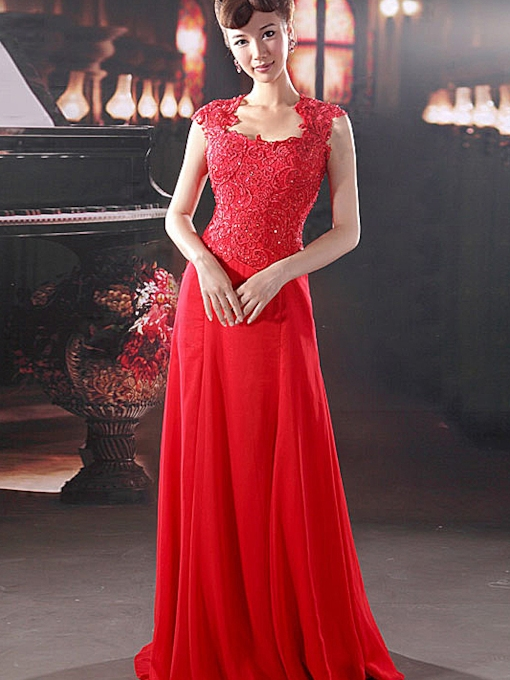 Cap Sleeve Beading Red Lace Evening Dress