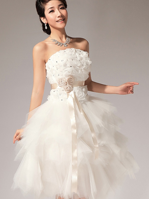 A-line Ruffles Strapless Beading Flowers Short Homecoming Dress