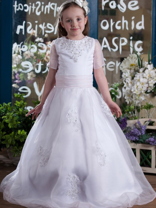 A-Line Round-Neck Short Sleeves Floor- Length Flower Girls Dress