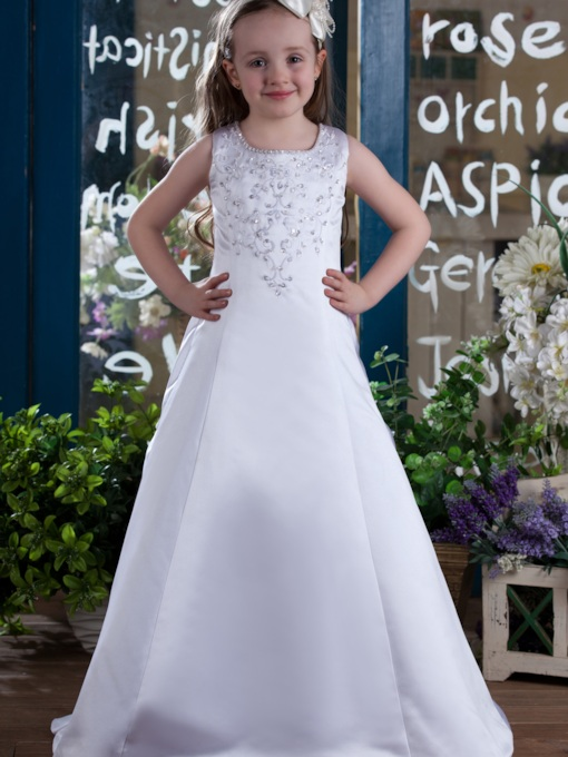 A-Line Round-Neck Zipper-Up Flower Girls Dress