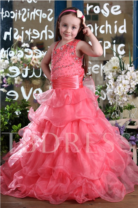 A-Line Beading Tiered Flower Girl Dress