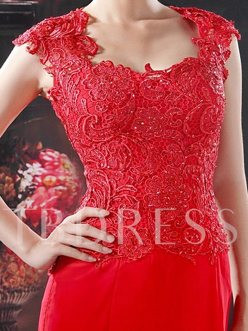Column Floor-Length Square Neckline Evening Dress