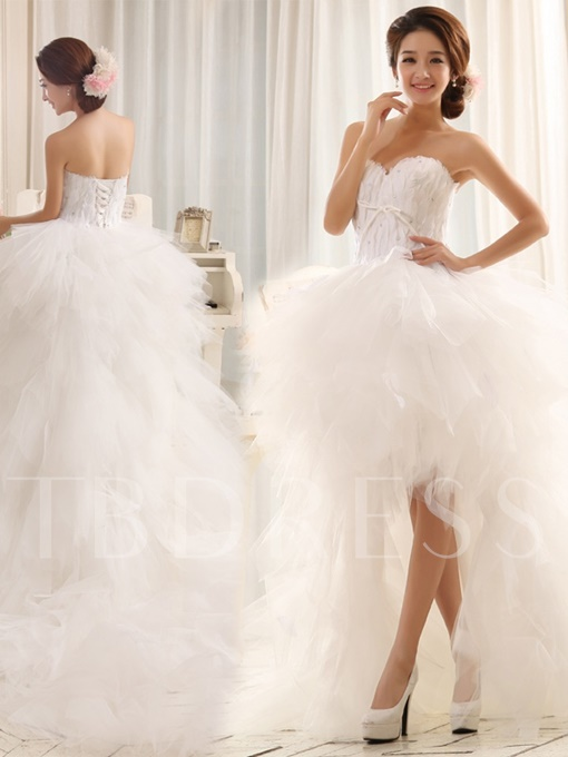 Feather Beading High Low Wedding Dress