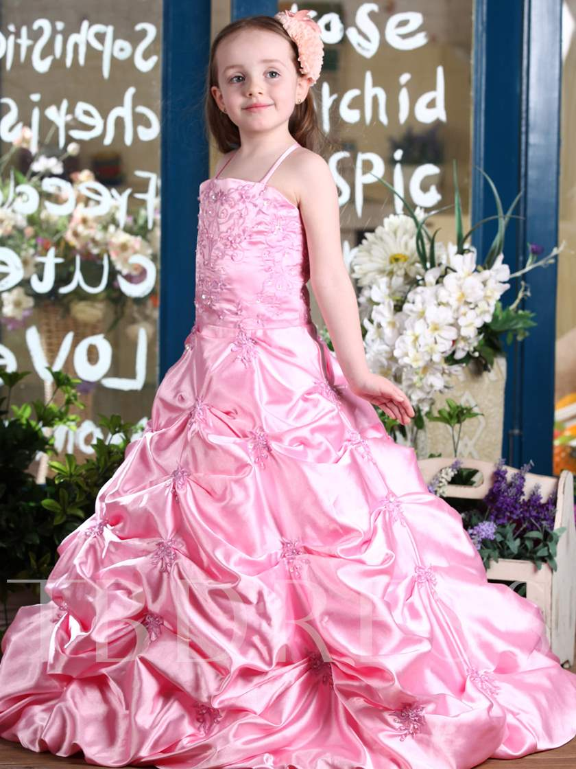 Ball Gown Floor-Length Spaghetti Straps Pleats Flower Girl Dress