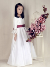 Ribbons Sleeves Long Flower Girl Dress