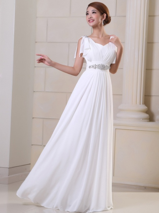 Empire Appliques Beading Evening Dress