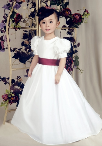 Princess Like Short Sleeves Sashes Floor-length Flower Girl Dress