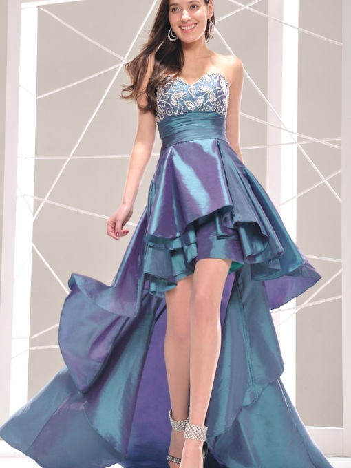Marvelous Sweetheart Asymetrical Hemline Appliques Cocktail Dress