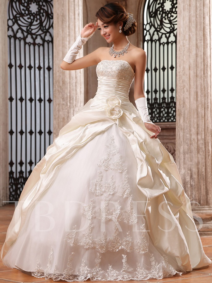 Image of Floor Length Ball Gown Strapless Flowers & Lace Wedding Dress