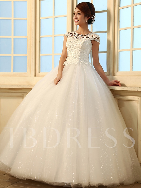 Image of A-Line/Princess Floor Length Scoop Lace Wedding Dress
