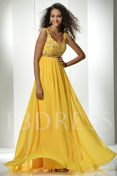 A-Line V-Neck Straps Beading Long Prom Dress