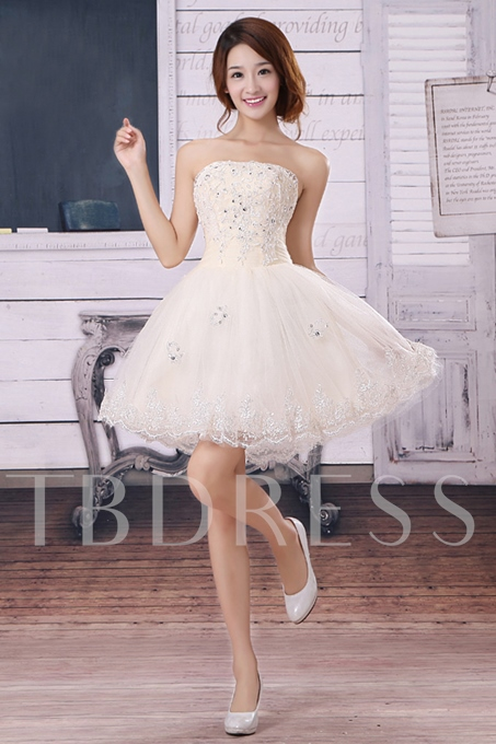 A-Line Short Beading Lace Prom Dress