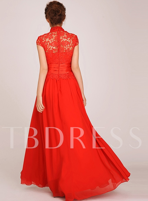 A-line High-neck Lace Flower Short-sleeves Long Evening Dress