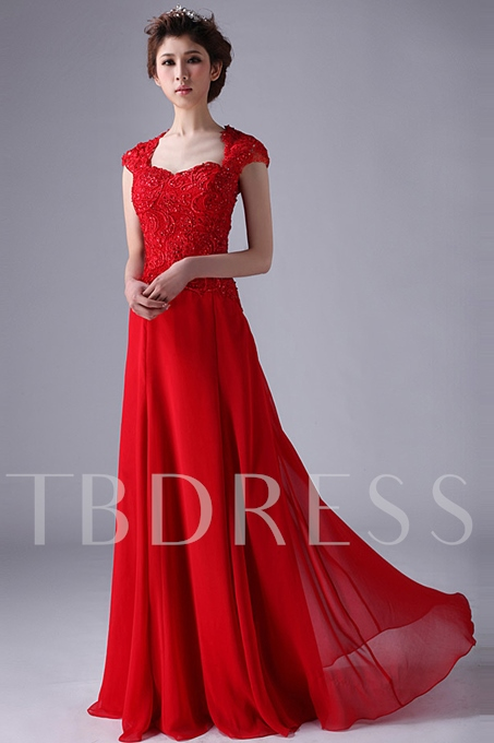 A-line/Princess Capped Sleeves Long Evening Dress