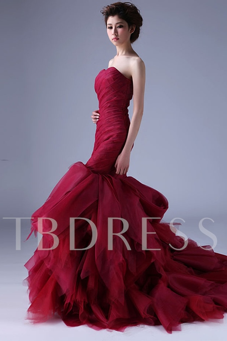 Mermaid Strapless Casscading Ruffles Chapel Train Color Wedding Dress