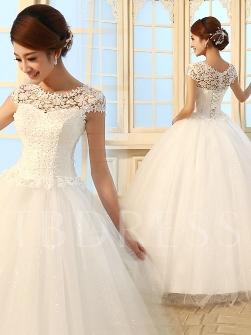 A-Line/Princess Floor Length Scoop Lace Wedding Dress