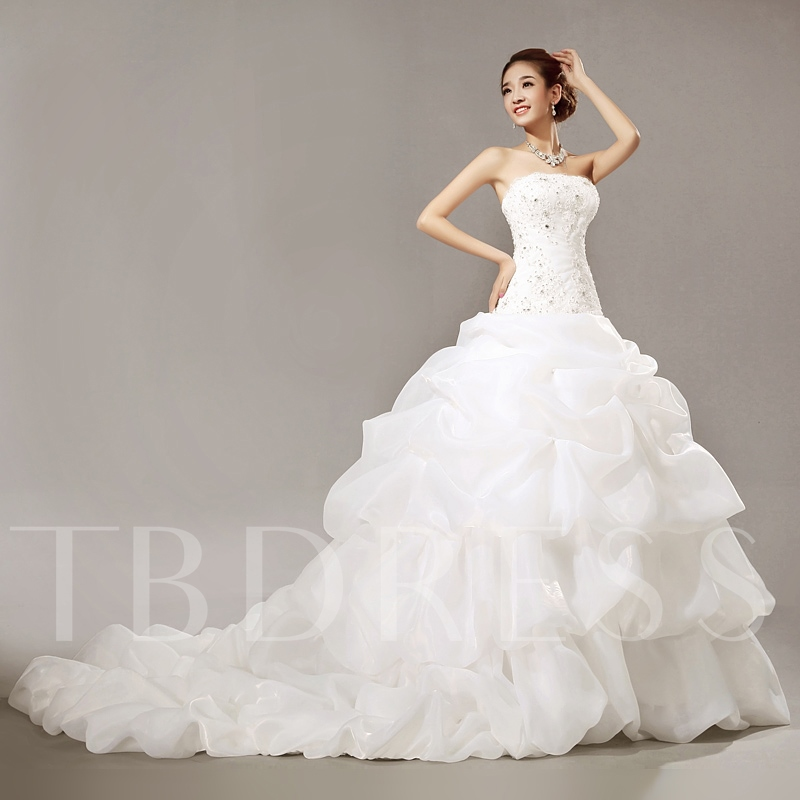Ball Gown Dropped Chapel Train Beading Ruched Wedding Dress