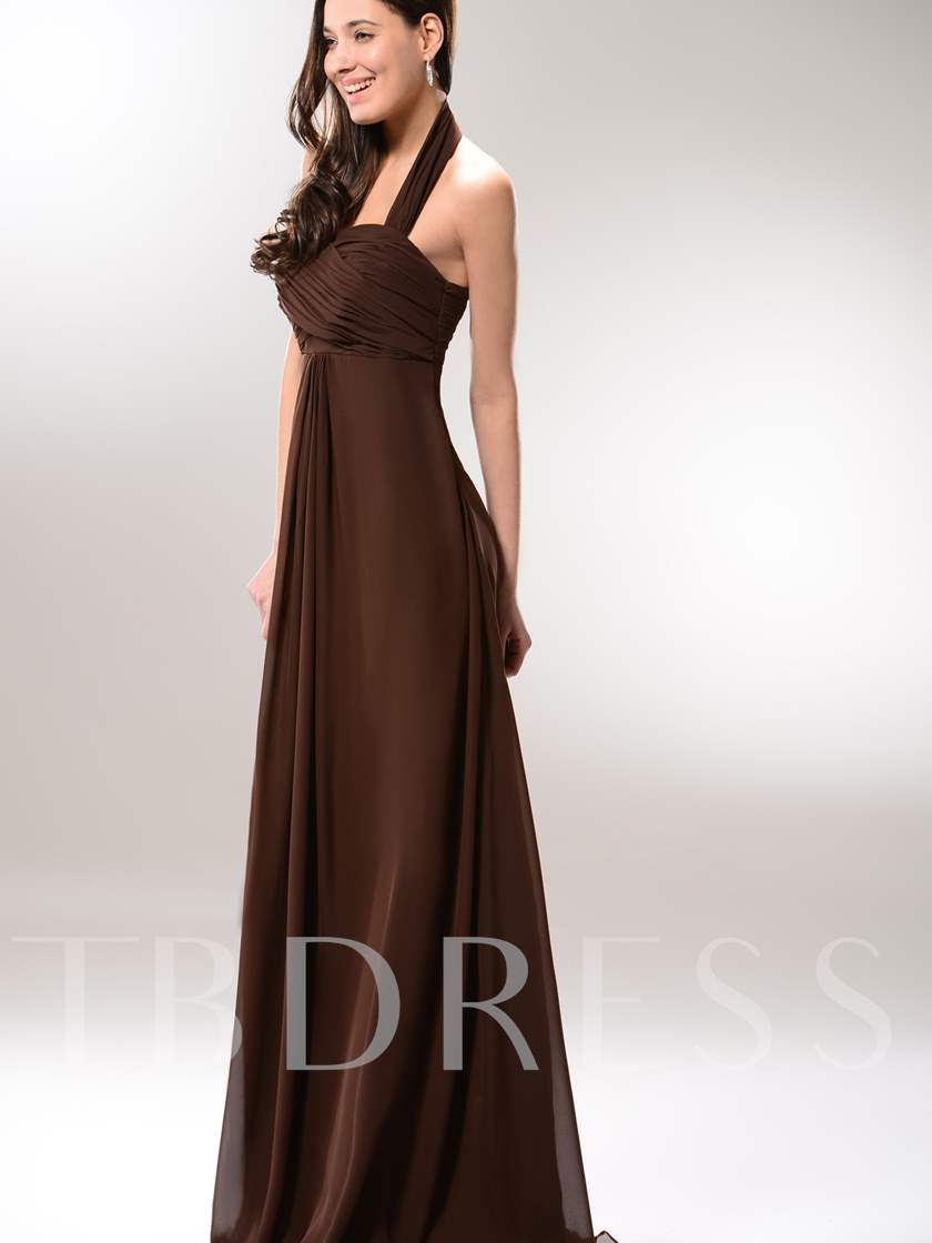 Ruched A-line Empire Waist Halter Long Prom Dress