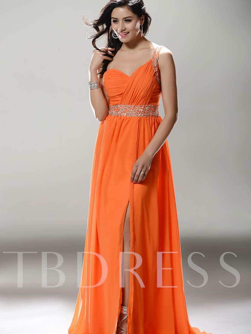A-line One-Shoulder Split-front Long Evening/Prom Dress