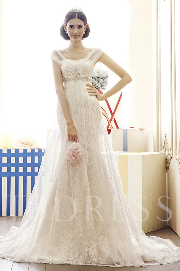 Capped Mermaid Empire Beads Court Train Lace Wedding Dress