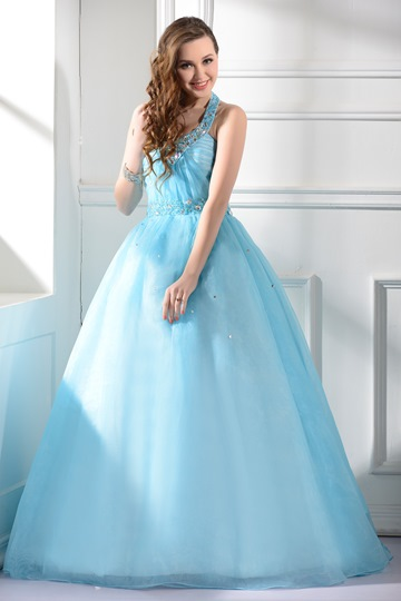 Ball Gown Beading Halter Long Quinceanera Dress