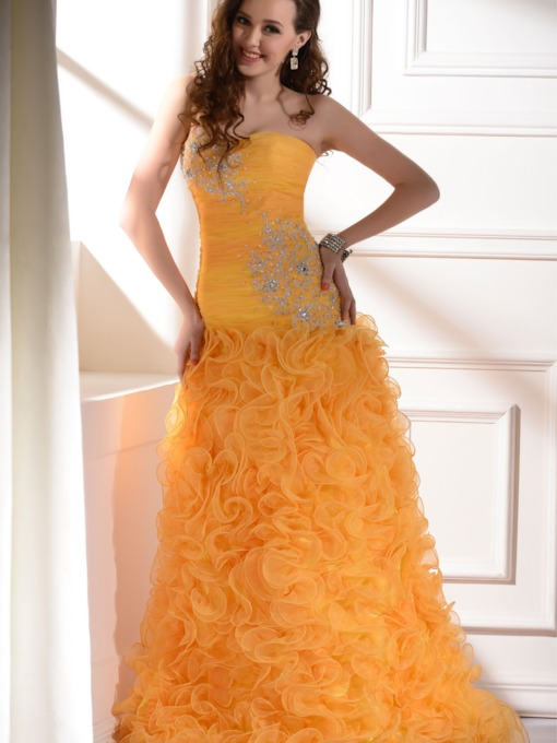Long Column/Sheath Ruffles Strapless Long Prom Dress