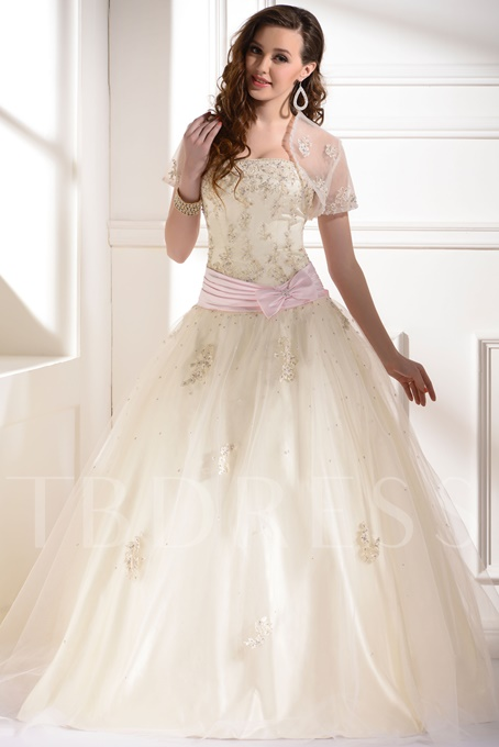 Ball Gown Strapless Appliques Long Quinceanera Dress With Jacket/Shawl